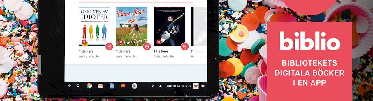 En surfplatta med bokomslag och texten Biblio bibliotekets digitala böcker i en app