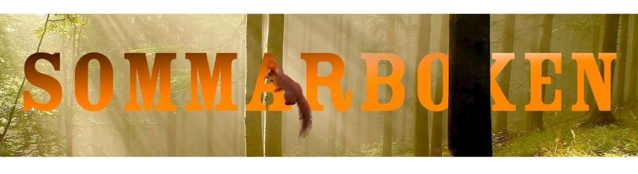 Texten Sommarboken med en bakgrund av skog och trästammar. På bokstaven A hänger en ekorre.