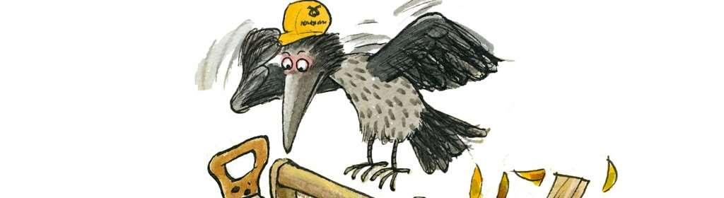 Kråkan hoppar på en verktygslåda full av verktyg